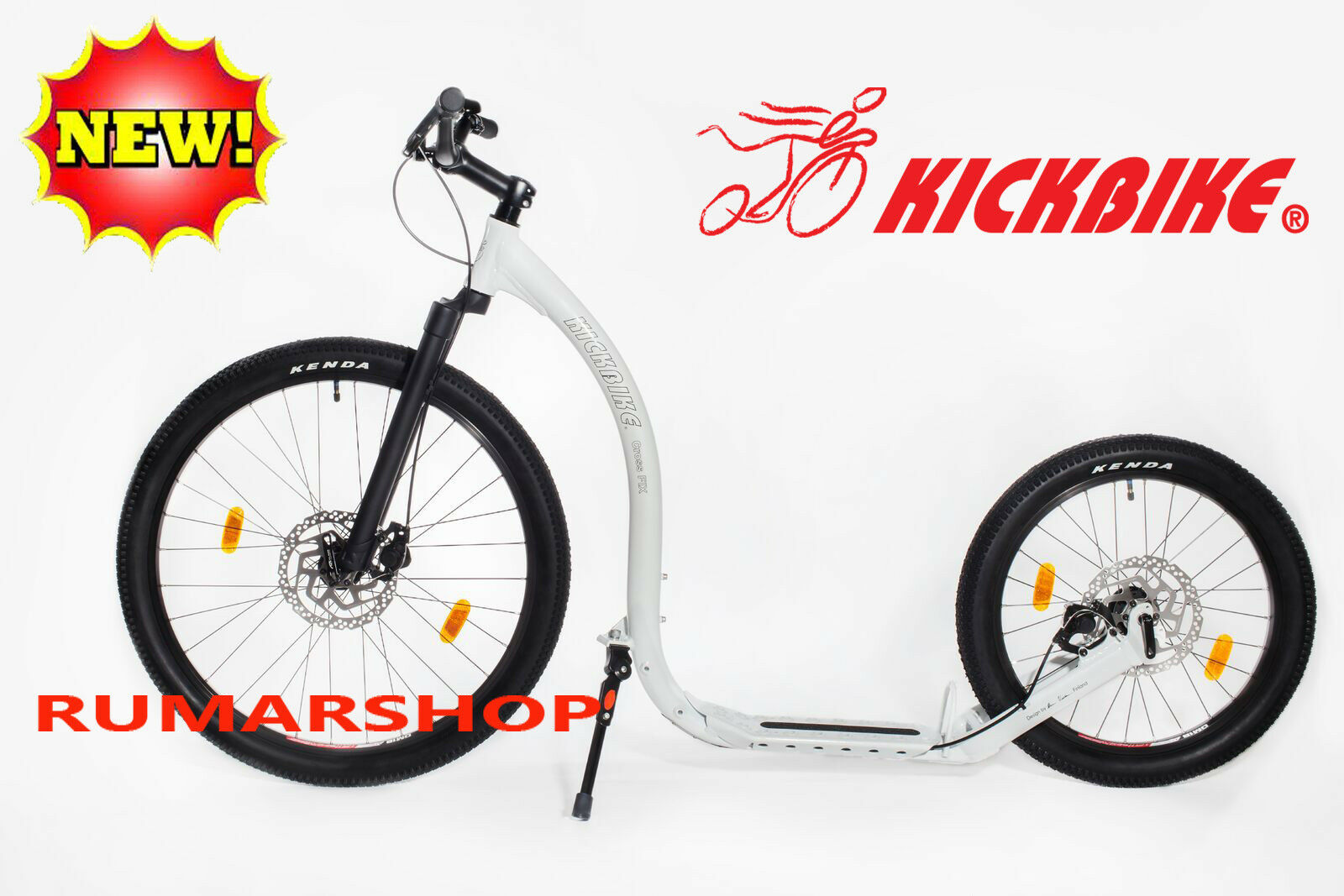 Nuevo original kickbike  Cross fix blanco scooter Roller  garantía de crédito