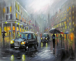 100-Hand-painted-Art-Oil-Painting-BUSY-CITYSCAPE-CITY-16-20inch-Signed-CANVAS