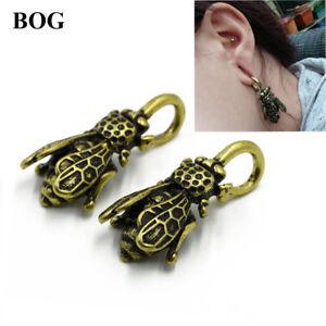 Antique-Gold-Cicada-Shape-Ear-Weights-Gauges-Piercing-Tunnel-Plug-Body-Jewelry