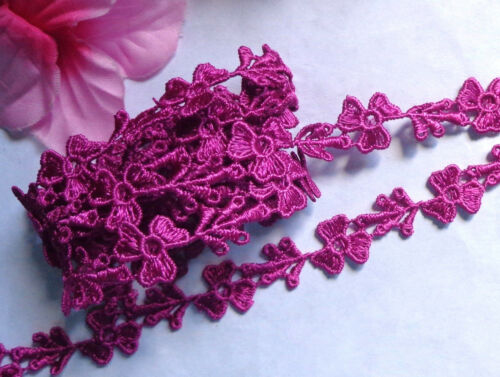 5//8 inch wide burgundy embroidery lace trim selling by the yard