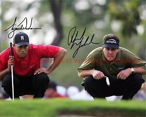 c892fe06a16 PHIL MICKELSON AND TIGER WOODS SIGNED AUTOGRAPHED 8x10 RP PHOTO GOLF ...