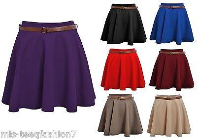 Womens Skater Skirt Mini Swing Flared Short Skirts Size 8 10 12 14