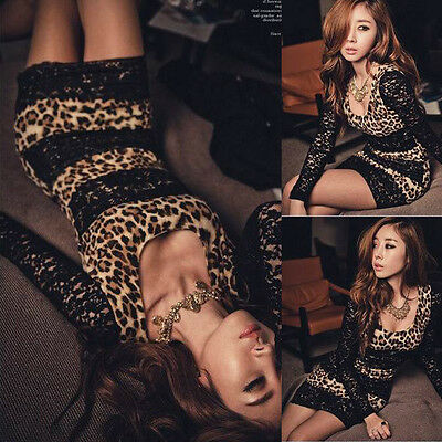 Women Long Sleeve Lace Black Party Club Mini Leopard Sexy Wear Slim Dress