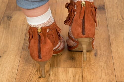 Studded Leather Size T 6 Heels Fringe Suede Tan Bar q5t0wf1tx