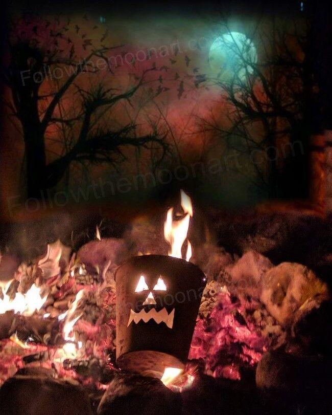 Halloween Camp Bon Fire Scary Pumpkin Night Moon Flying Bats Wall Art Print Boo