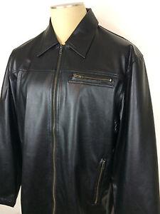 Men's Carbon Black Faux Leather Coat Jacket Size Large