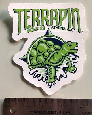 """Terrapin Beer Co 4.5/"""" x 5/"""" Die Cut Turtle STICKER Decal Craft Beer Athens GA"""