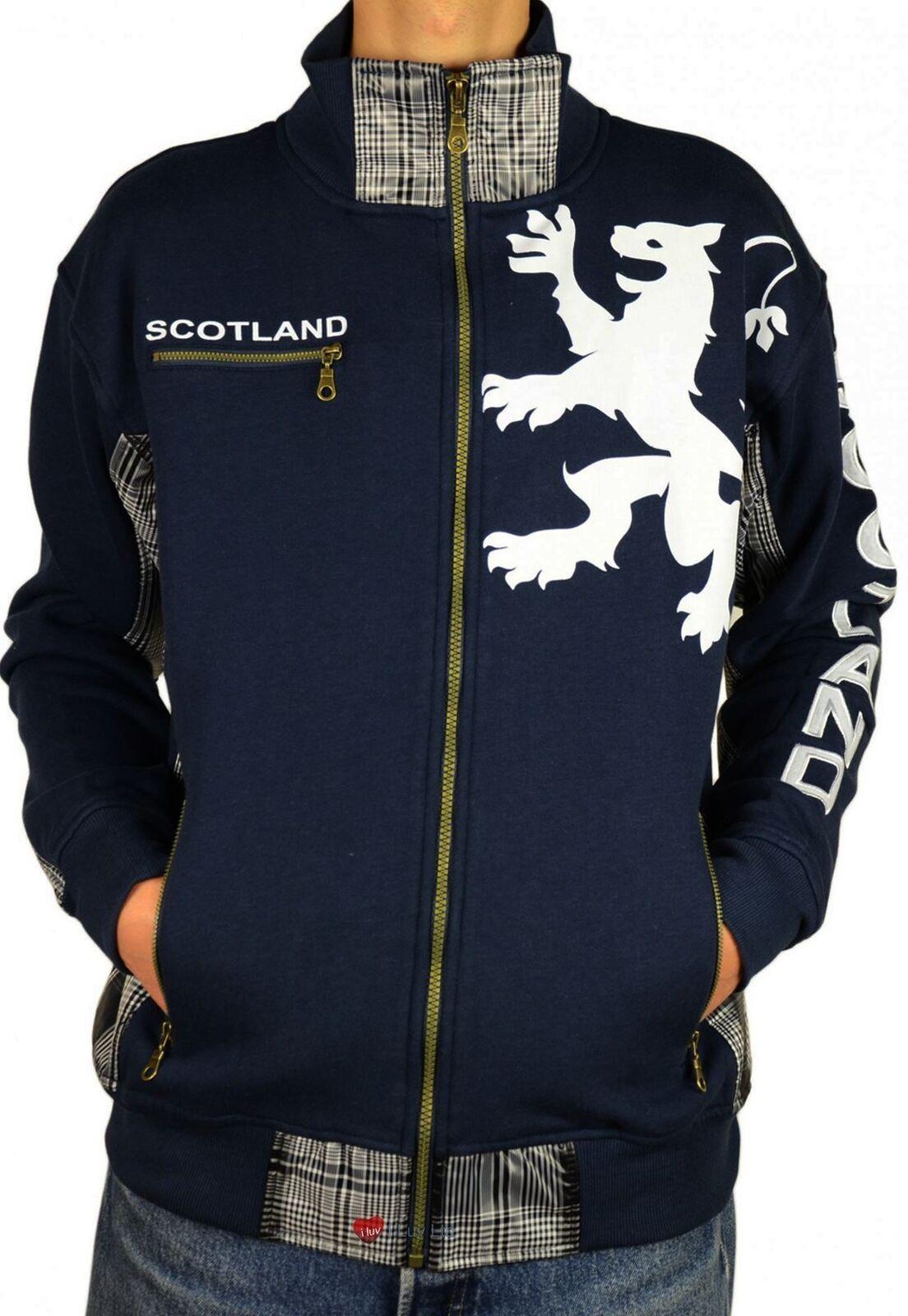 Herren Zipper Top Scotland Lion Tartan Insert Navy Größe Small