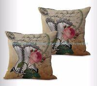 Us Seller, 2pcs Vintage Rose Cushion Cover Decorative Pillowcases