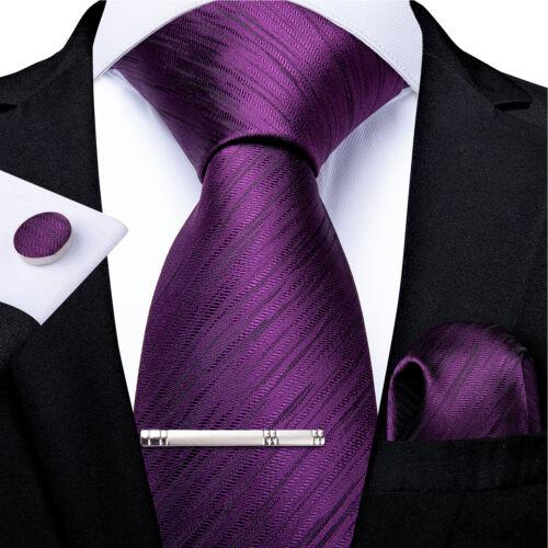 Purple Necktie Solid Paisley Checks Silk Tie Clip Pocket Square Cufflinks Set
