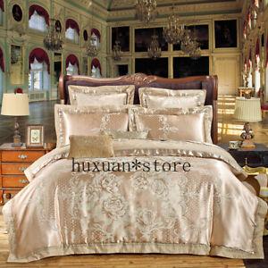 4-6Pcs-Luxury-Silk-Cotton-Jacquard-Bedding-Set-Embroidery-Duvet-Cover-Set-Sheet