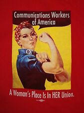Vintage A Woman's Place is in her Union  Communication Workers T Shirt L