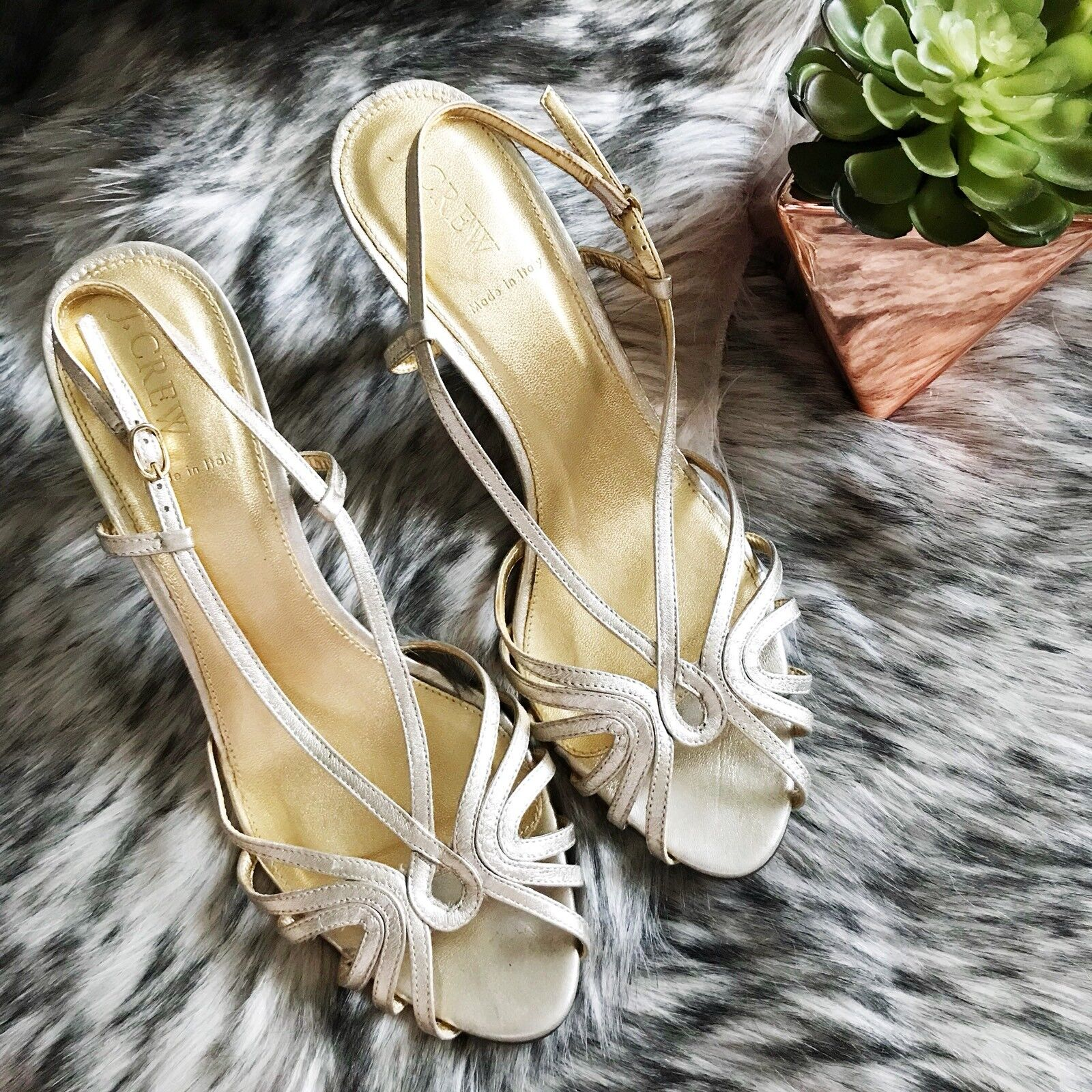 J. Crew Tuesday Leather Strappy Heel Made In  Wedding Metallic gold Size 10