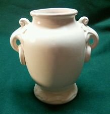 Vintage Red Wing RumRill Grecian Art Pottery Handled White Ware Vase Urn #640