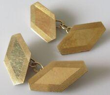 Art Deco 1933 Clásico 9CT Amarillo Oro Cadena Enlace Gemelos hexagonal.