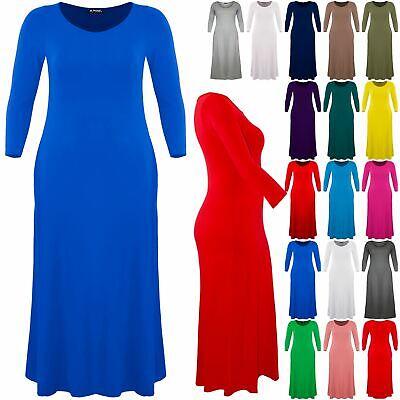 Womens Maxi Dress Ladies Celebrity Stretchy Flared 3//4 Sleeve Swing Long Dress
