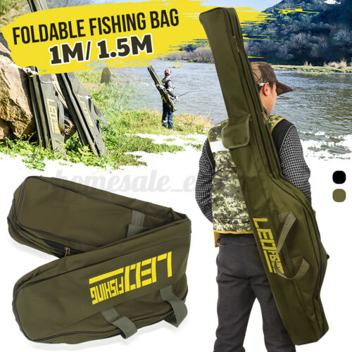 100CM Folding Fishing Bag Rod Reel Pole Gear Tackle Storage Case Tool Black
