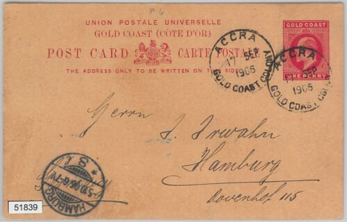 51839 Gold Coast POSTAL HISTORY POSTAL STATIONERY CARD to GERMANY 1906