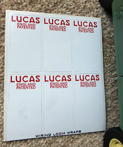 3x Lucas Patented England Wiring Loom Wrap Label Decals Land Rover Series 1 2 3