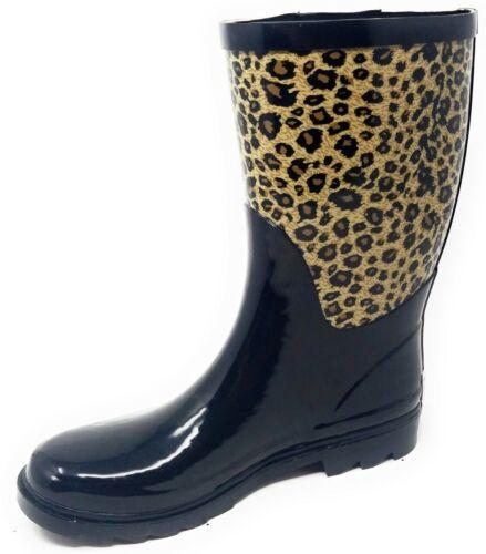 """Women/'s 11/"""" Rubber Rain Boots Pull-On Waterproof Garden Ladies Wellies"""