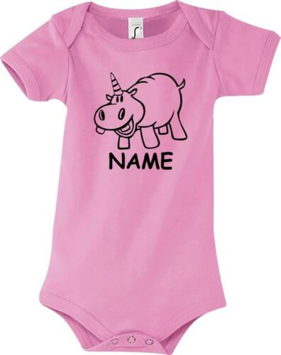 hippopotame Baby Body drôle animaux sur demande Nom Licorne hippopotame licorne