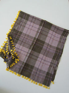 Paul-Smith-scarf-100x100cm-square-yellow-tassles-BNWT