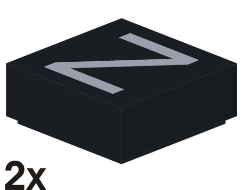 """2 St 3070 6 NEUE 1x1 Fliese schwarz mit silbernem Buchstaben-Aufdruck /""""Z/"""""""