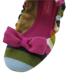 Coach Rio Legacy Strip Women Slippers Multi Colored Slip On Moccasins Size 6.5