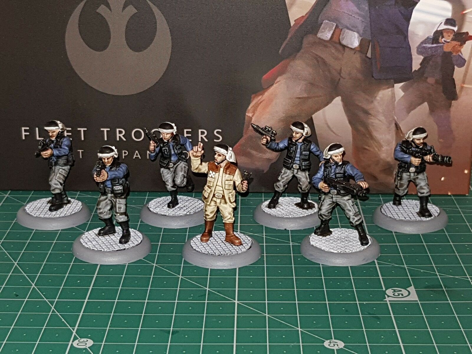Star wars legion Rebel Fleet Troopers, figures,  Painted 7 miniatures