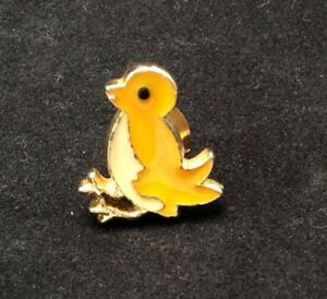 Three Baby Chicks Vintage Sterling Silver and Enamel Brooch