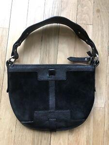 53364891a732 Image is loading Burberry-Black-Suede-Leather-Handbag-Shoulder-Bag