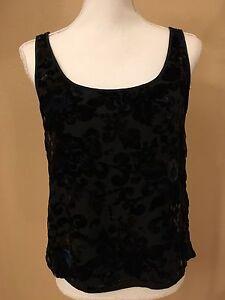 BLACK-TIE-Oleg-Cassini-Womens-Silk-Blend-Floral-Top-Black-Sz-6-shimmering-colors