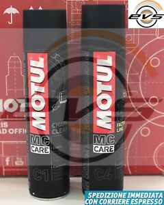 Kit Pulizia Catena Moto Strada MOTUL C1 Chain Clean + Grasso Spray C4 FL 2x400ml