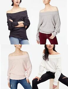 4045b56e8914e Image is loading FREE-PEOPLE-Women-Pullover-Palisades-Off-Shoulder-Thermal-