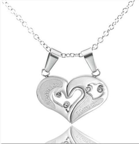 Men Women Couple Lover Necklace I Love You Heart Shape Pendant Stainless Steel