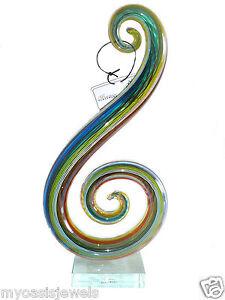 Swirl-Sculpture-Glassware-Art-Glass-Modern-Abstract-Hand-Blown-12x6x3
