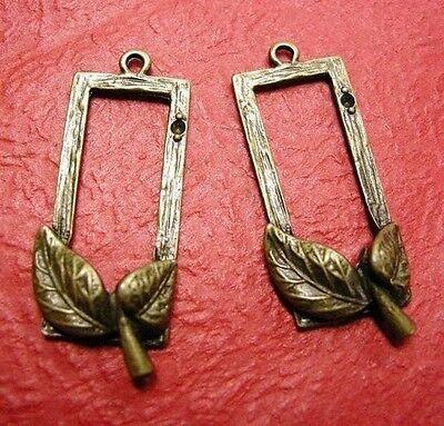 2pc antique bronze rectangle leaf pendant-3361
