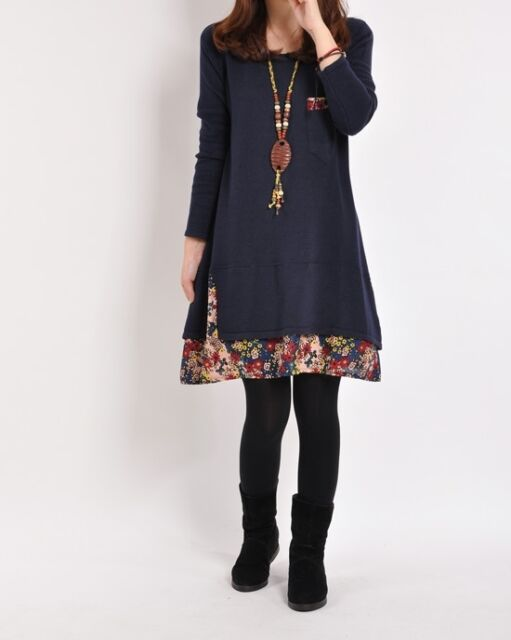 Lady Sexy Fashion Dress Long Sleeve Floral Pieced Loose Casual Pullover Skirt