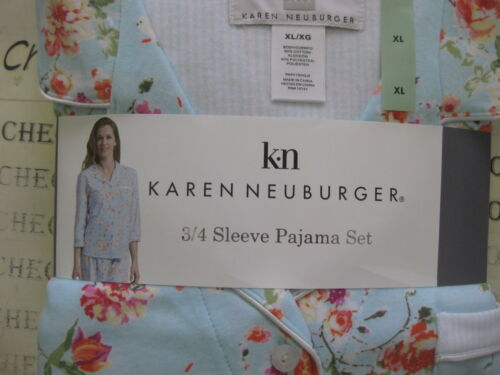 NWT Karen Neuburger   3//4 SLV COTTON BLEND SOFT KNIT  PAJAMA SET CHOOSE SIZE CLR