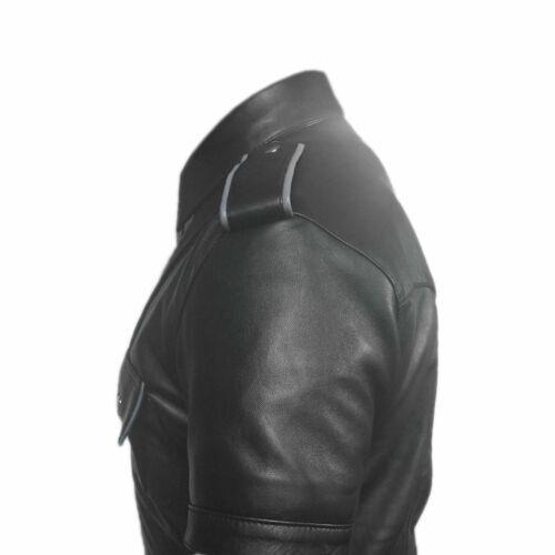 Mens Black Pure Leather Police Uniform Shirt Military Style Shirt BLUF Men Shirt
