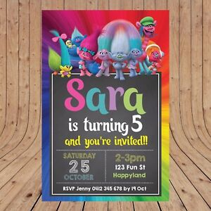 Image Is Loading Personalised TROLLS DIGITAL Kids Birthday Invitations YOU PRINT