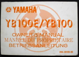 YAMAHA-YB100E-YB100-MOTORCYCLE-HANDBOOK-MANUAL-1978-2R4-28199-80-USA