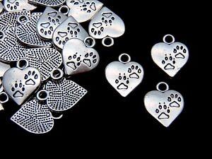 15-Pcs-17mm-Tibetan-Silver-Paw-Print-Heart-Pendants-Charms-Jewellery-Beading-M16