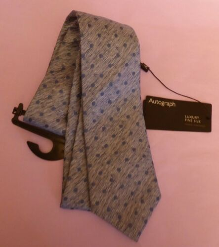 Marks /& Spencer Autograph New Blue-Mix de Luxe Fine Cravate en soie