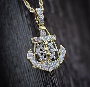 Lab simulated diamond gold jesus anchor pendant charm necklace ebay image is loading lab simulated diamond gold jesus anchor pendant charm aloadofball Gallery