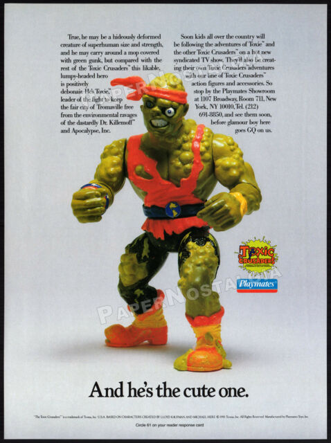 TOXIC CRUSADERS__Orig. 1991 Trade print AD__Toy action figure/ TV promo__Avenger