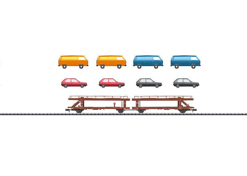 Trix Minitrix 15442 auto carro de transporte de la DB doble unidad cargado  neu en OVP