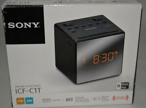 sony am fm dual alarm clock radio icf c1t black ebay. Black Bedroom Furniture Sets. Home Design Ideas
