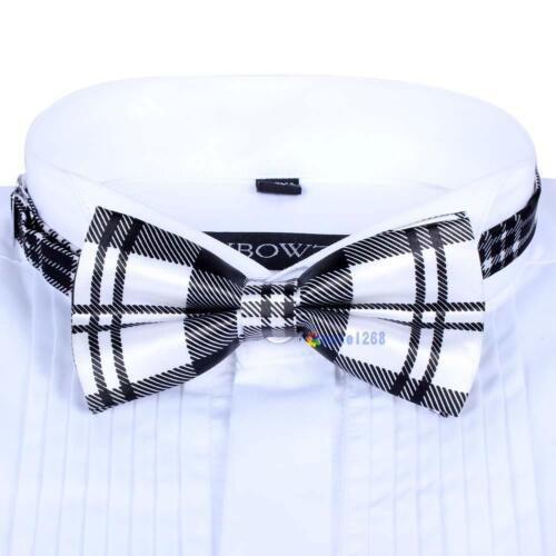 Men Satin Bow Tie Dickie Pre-Tied Wedding Tuxedo Necktie Black White Tartan UP