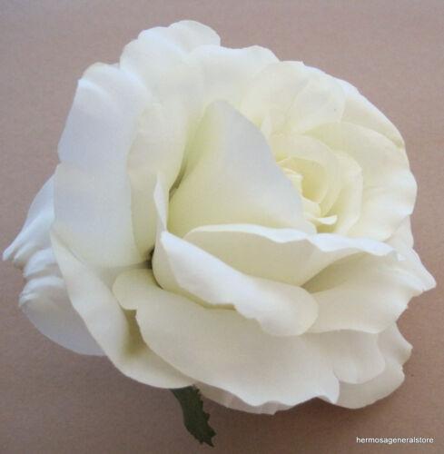 "4 1//2/""  Cream White Silk Rose Flower Hair Clip Wedding Prom,Bridal,Dance"